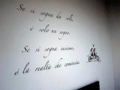 Text on the wall in our room.