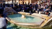 Barcaccia Fountain, just below the Spanish Steps.