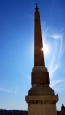An obelisk on the top of the Spanish Steps.