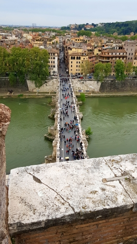 Bridge infront of the castle to downtown Rome.