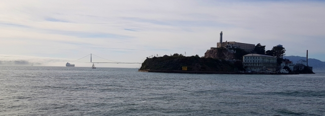 Alcatraz and in the backround Golden Gate Bridge.