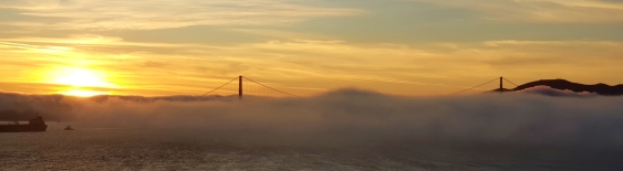 Sunset over Golden Gate bridge.
