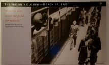 A picture of when the last inmates of Alcatraz were leaving.