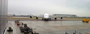 "At Heathrow we saw ""the other"" jumbo. Airbus A380. Enormous plane!"