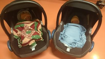 Going home with our new identical twin girls for the first time.
