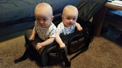 One year old twin girls, ready for their first trip to Boden, Sweden.