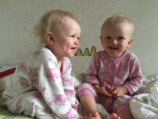 Two happy girls at home.