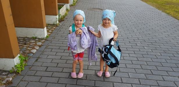 Eveline and Isabelle heading for daycare as 5 year old's.